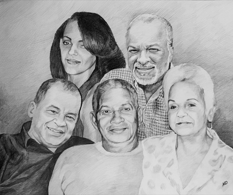 Beautiful family portrait in charcoal