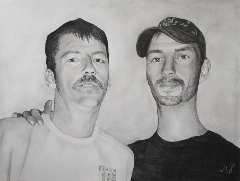 Personalized black pencil artwork of two adults