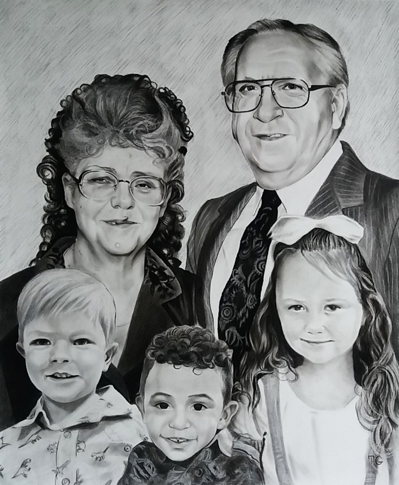 Gorgeous charcoal painting of grandparents and grandchildren