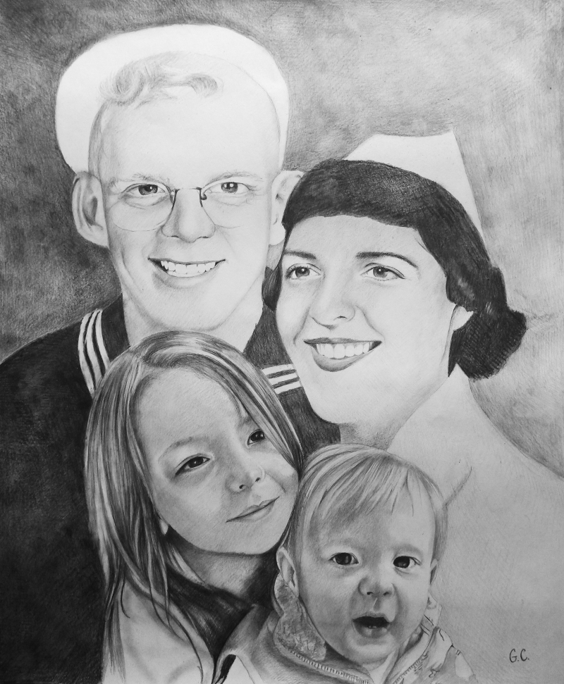 Vintage handmade black pencil painting of a family