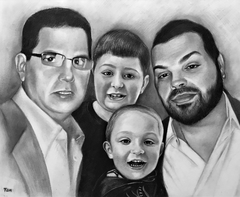 Beautiful charcoal painting of a family