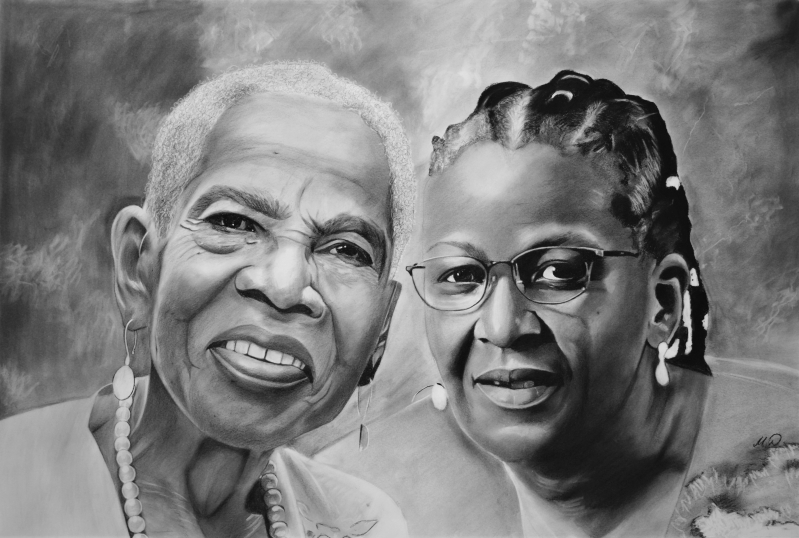 Beautiful charcoal drawing of two adults