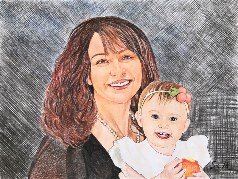 Beautiful color pencil drawing of a mother and child