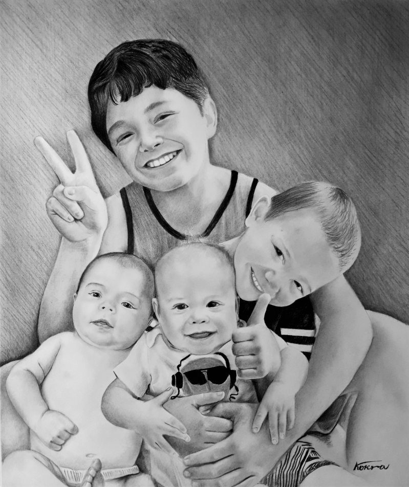 Beautiful charcoal drawing of four siblings
