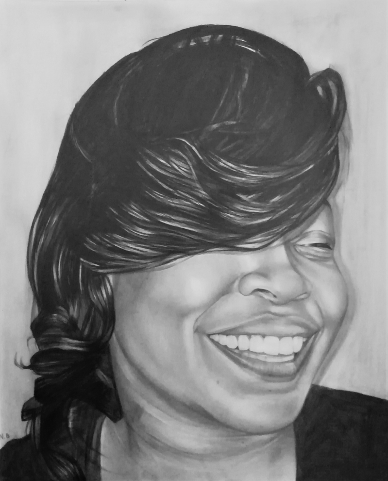 Beautiful close up black pencil drawing of a smiling lady