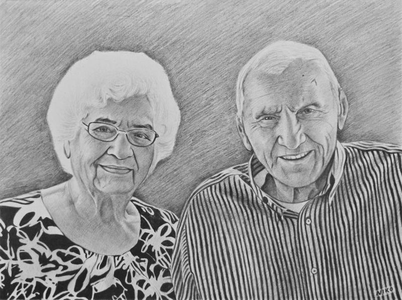 Custom black pencil drawing of an elder couple