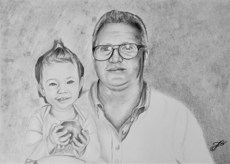 Beautiful charcoal drawing of a father and daughter