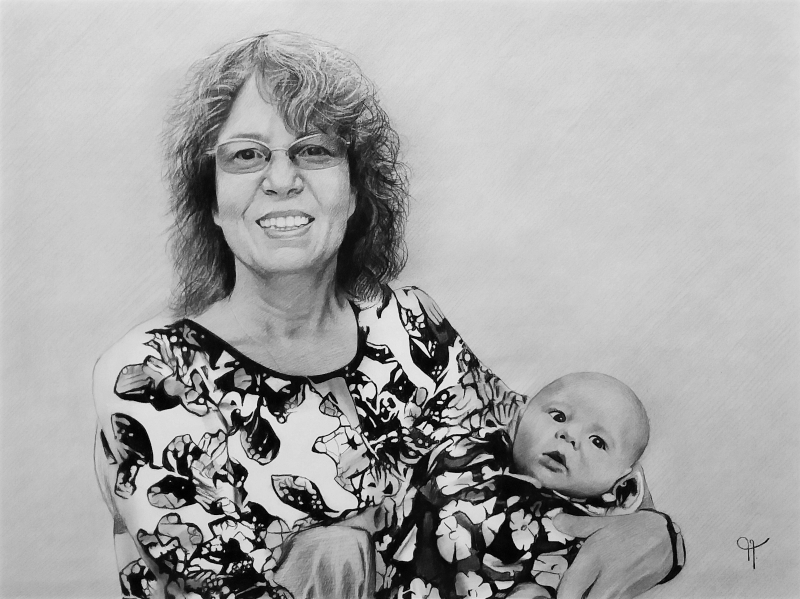 Custom handmade charcoal drawing of a grandmother and baby