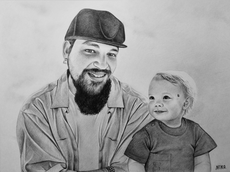 Custom handmade black pencil drawing of an adult with a baby