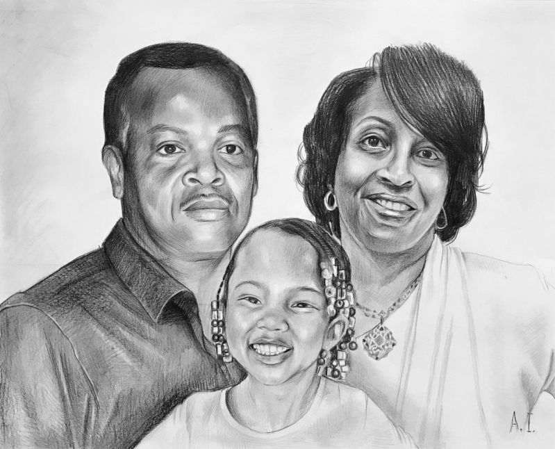 Beautiful black pencil drawing of a family