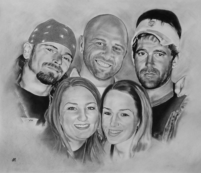 Custom charcoal drawing of a happy family