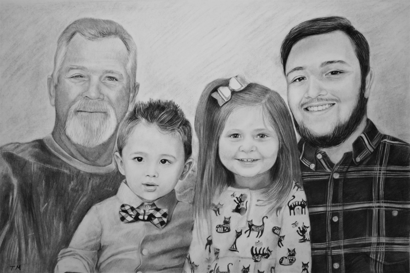 Gorgeous handmade charcoal drawing of a family