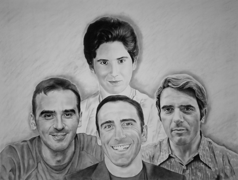 Custom charcoal drawing of a family