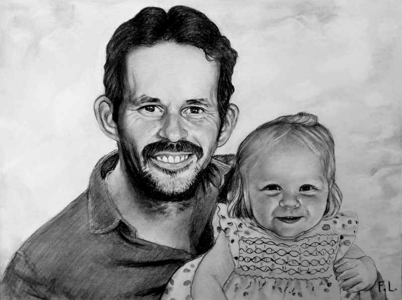 Gorgeous charcoal drawing of a father and daughter