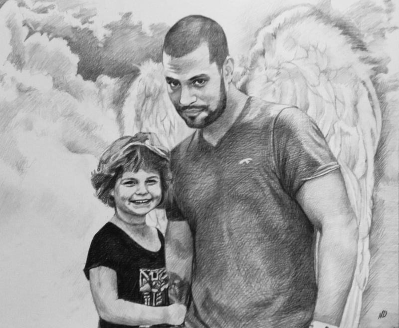 Beautiful charcoal drawing of a man with angel wings and kid
