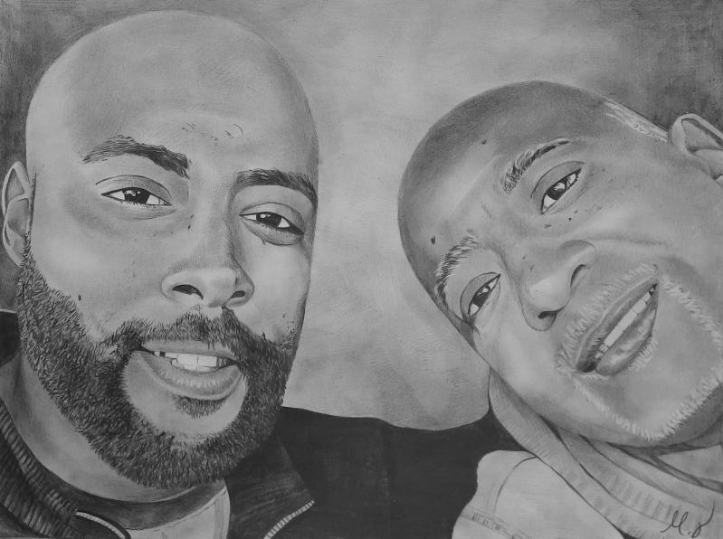 Custom handmade black pencil drawing of two adults
