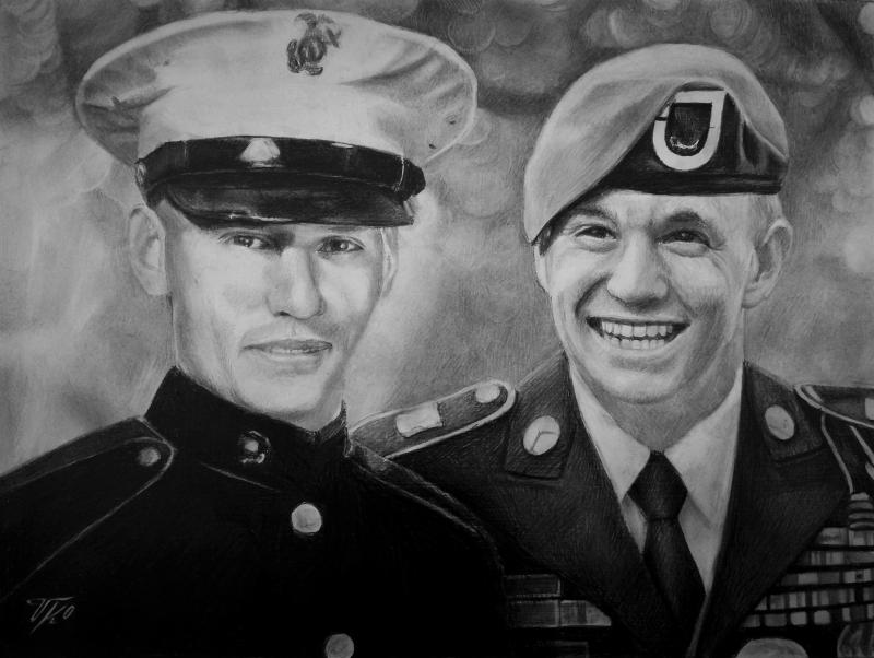 Custom black pencil drawing of two man in uniforms
