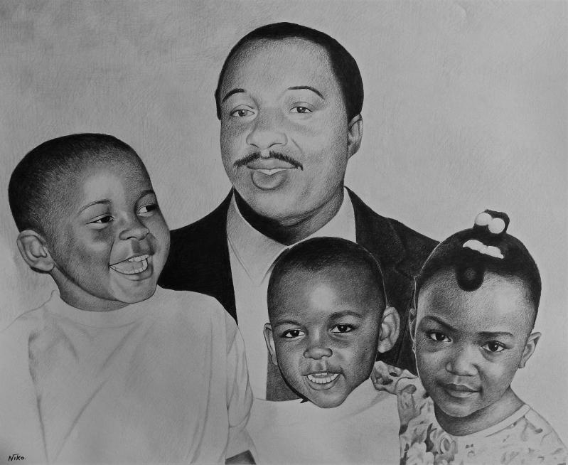 Custom black pencil drawing of a family