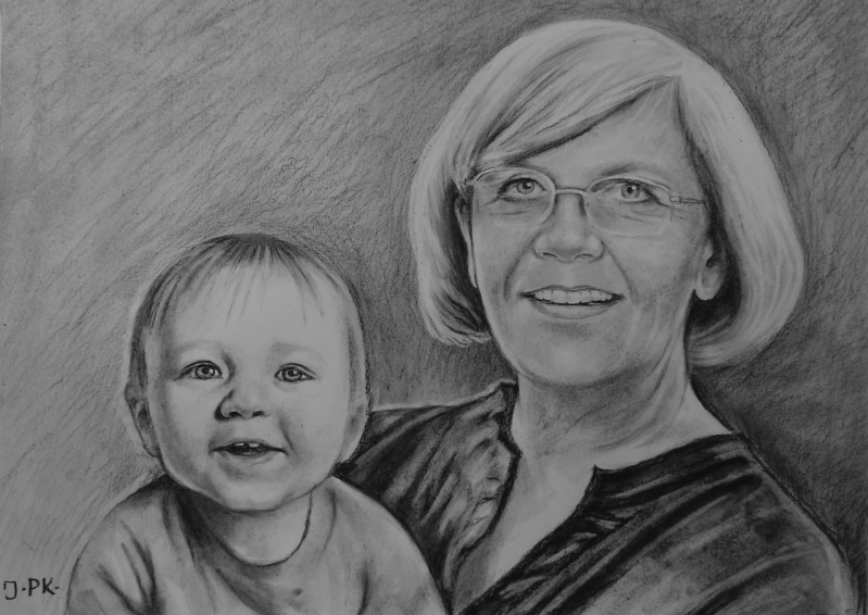 Custom charcoal drawing of a grandmother and a grandchild