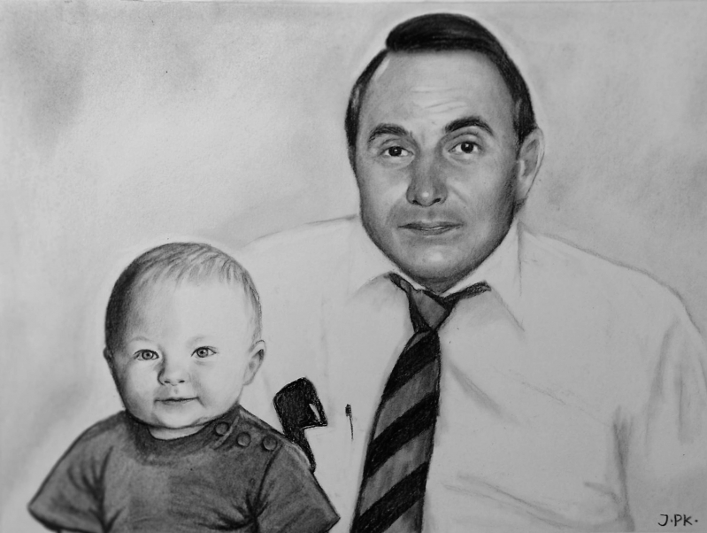 Custom handmade charcoal drawing of a man with a baby