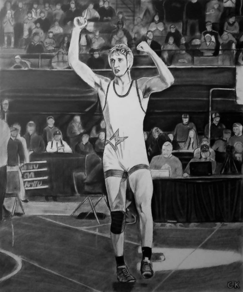 Custom handmade charcoal drawing of  sportsman