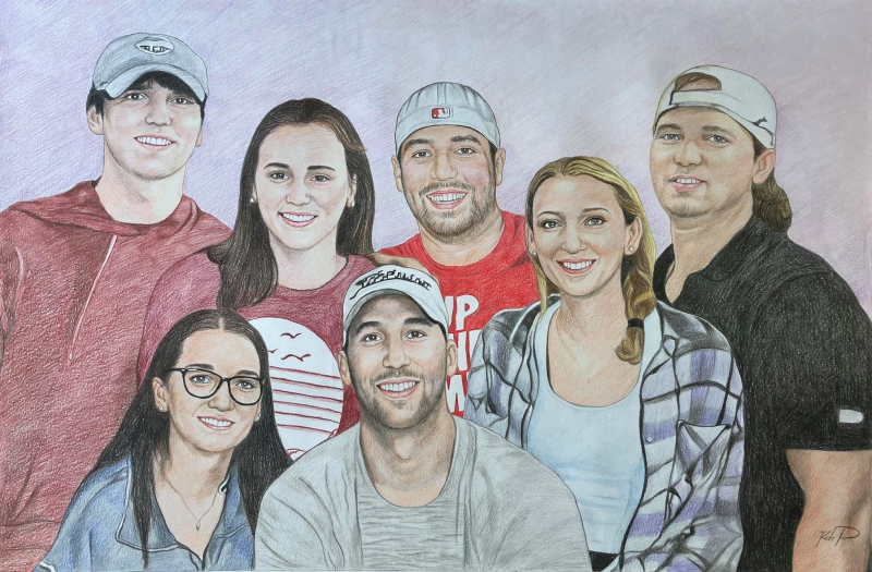 Gorgeous color pencil drawing of a happy family