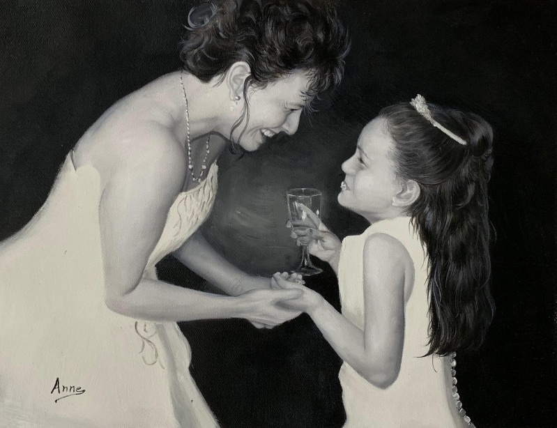 Beautiful oil painting of a bride and a girl