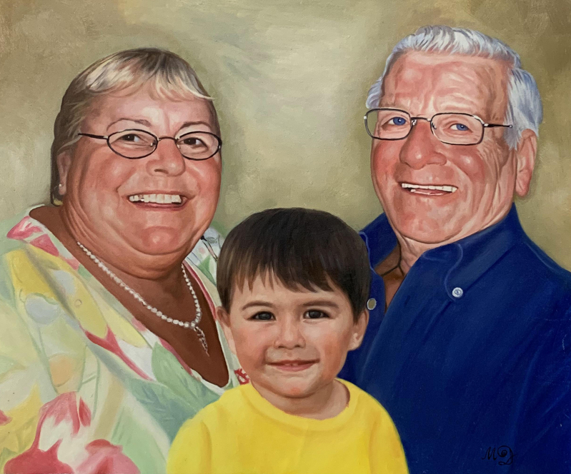 Custom oil artwork of grandparents with grandchild