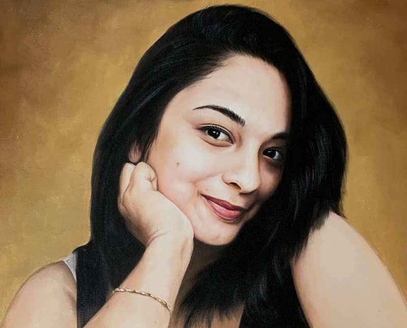 Beautiful oil portrait of a girl with a solid background