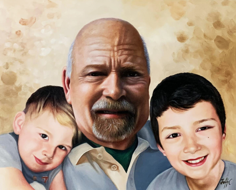 Custom oil painting of a man with two kids