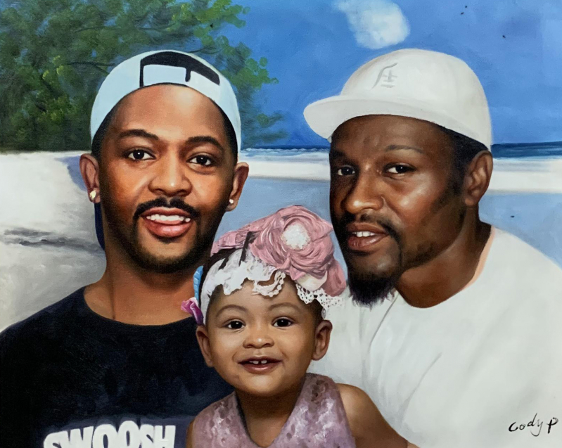 Custom oil painting of two man with a little girl