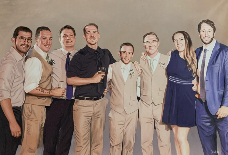 Beautiful oil wedding portrait of eight people