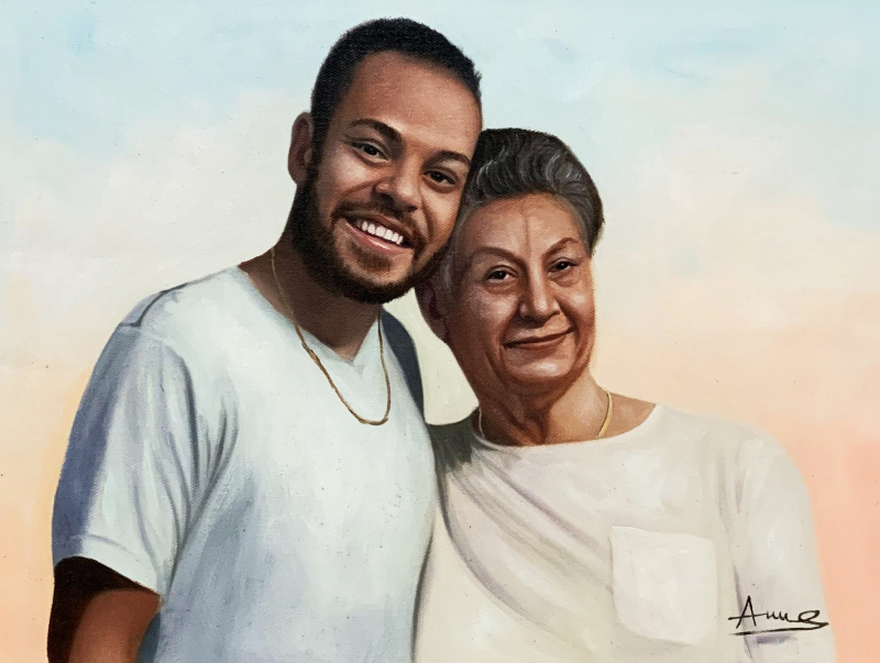 Beautiful acrylic painting of a mother and a son