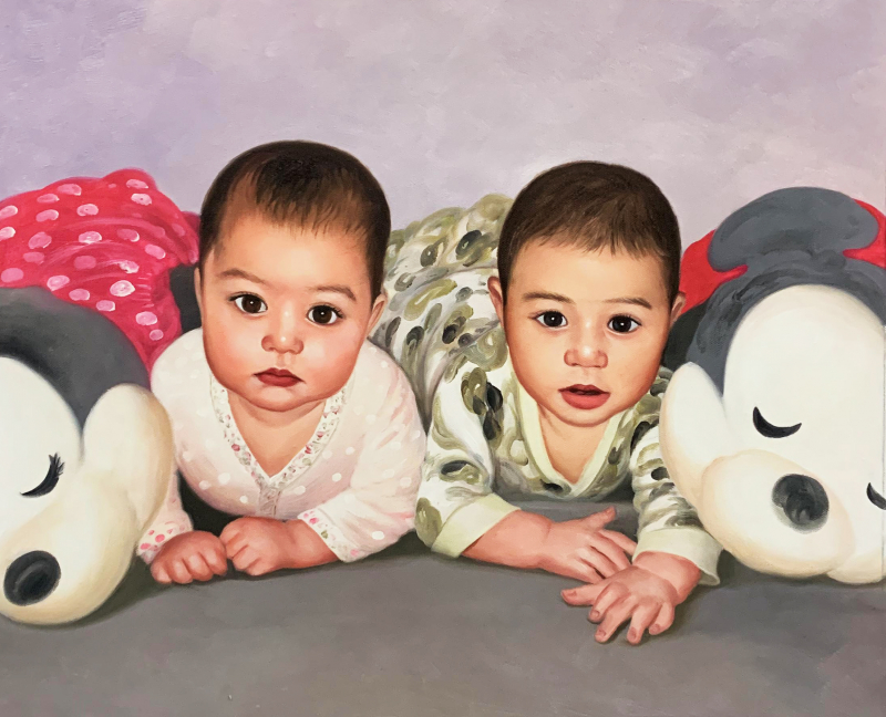 Custom oil painting of two babies