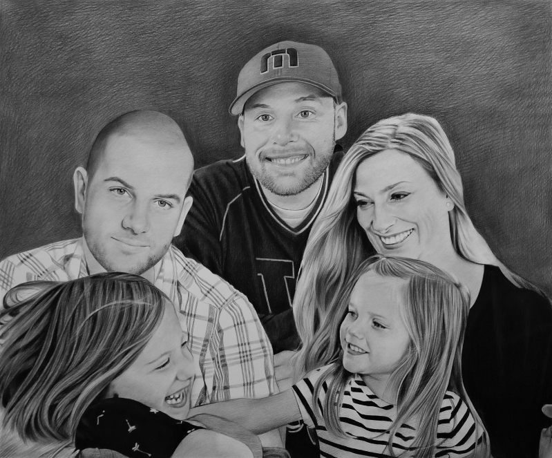 Beautiful handmade painting of a family in charcoal