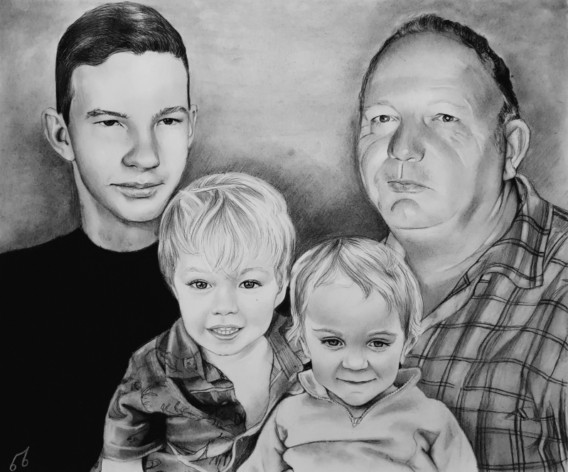 Stunning handmade charcoal portrait of a family