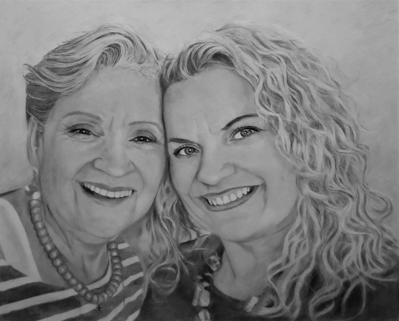 Gorgeous handmade charcoal drawing of a mother and daughter