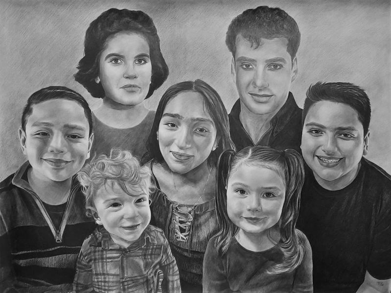 Custom handmade black pencil drawing of a family
