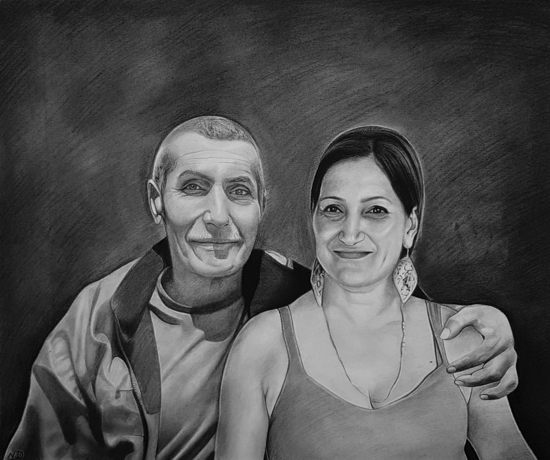 Custom handmade drawing of an adult and parent in charcoal