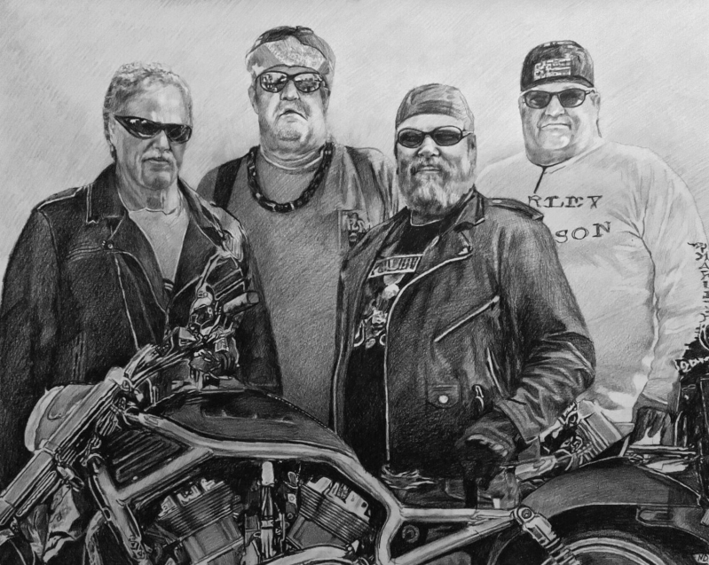 Personalized charcoal drawing of four bikers