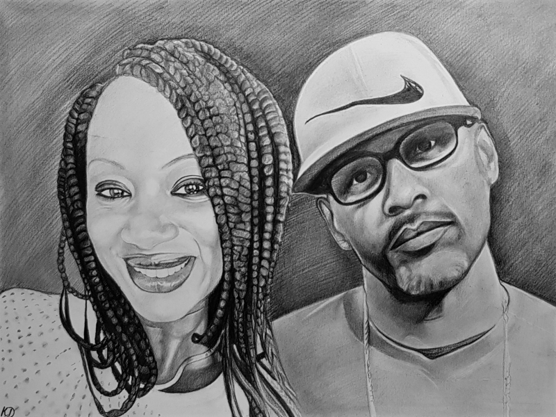 Custom close up black pencil drawing of a couple