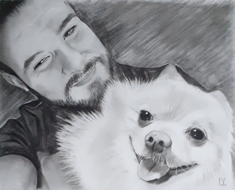 Custom close up charcoal drawing of an adult and pet
