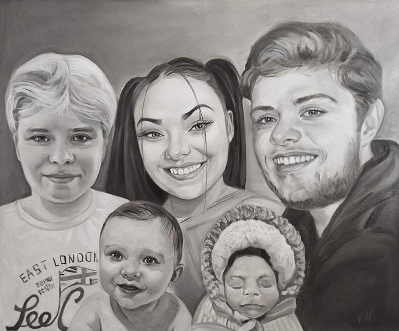 Custom handmade black and white family portrait in oil