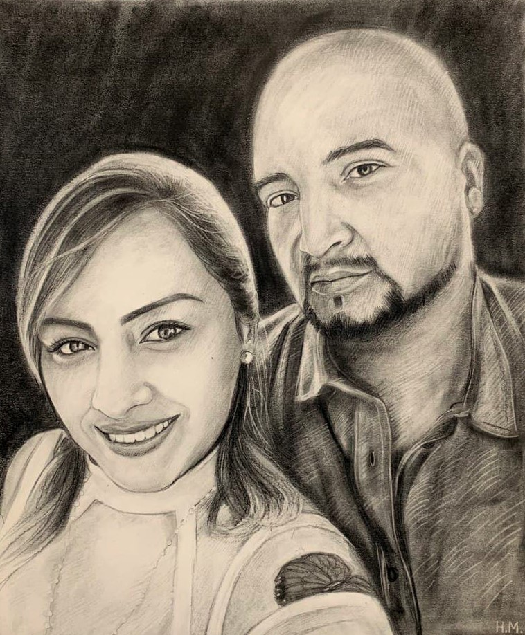 Beautiful handmade black pencil drawing of a couple