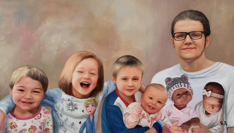 Beautiful oil artwork of an adult with six kids