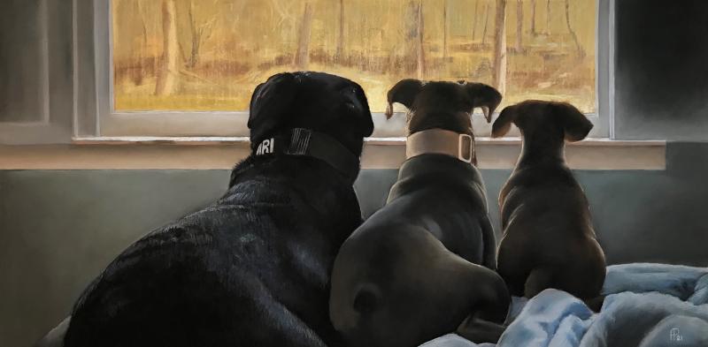 Custom handmade pastel painting of three dogs