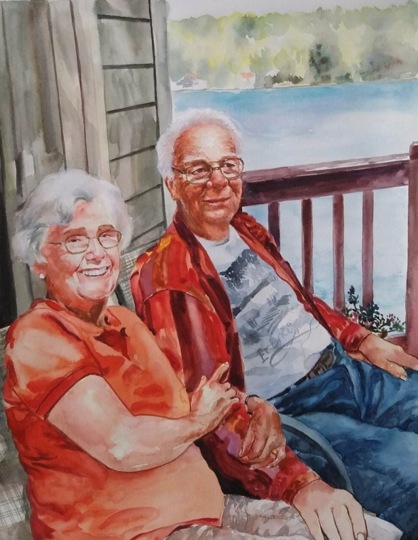 custom watercolor painting of couple by the lake
