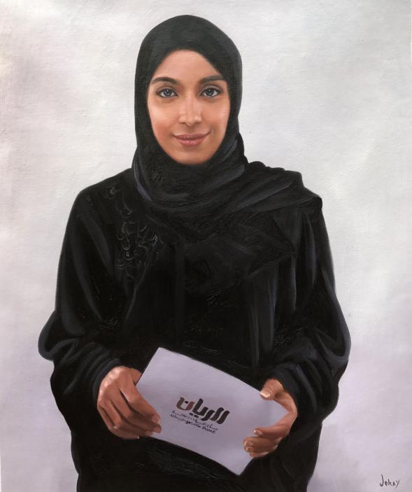 a custom oil painting of muslim woman in black