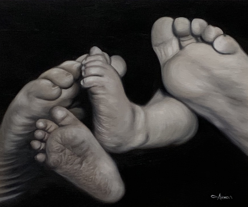 an oil painting of feet