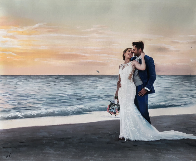 Beautiful wedding portrait in oil